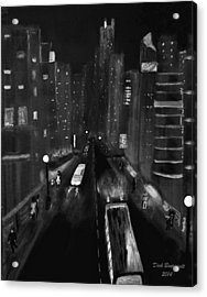 Night City Scape Acrylic Print by Dick Bourgault