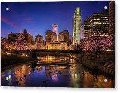 Night Cityscape - Omaha - Nebraska Acrylic Print by Nikolyn McDonald