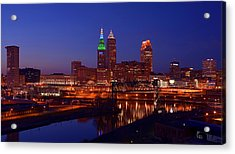 Night Cleveland Skyline From The South Acrylic Print