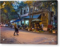 Night Crossing Hanoi Acrylic Print by Rick Bragan