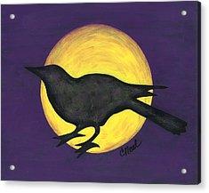 Night Crow On Purple Acrylic Print