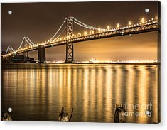 Night Descending On The Bay Bridge Acrylic Print