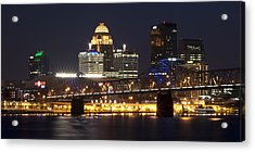 Acrylic Print featuring the photograph Night Descends Over Louisville City by Deborah Klubertanz