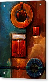 Night Engine - Abstract Red Gold And Blue Print Acrylic Print by Kanayo Ede