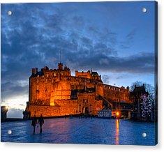 Night Falls On Beautiful Edinburgh Castle Acrylic Print by Mark E Tisdale
