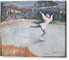 Night Ice Skater Acrylic Print