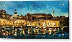 Night In Dubrovnik Harbour Acrylic Print