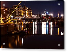 Night Lights On The Amsterdam Canals 2. Holland Acrylic Print by Jenny Rainbow