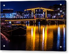 Night Lights On The Amsterdam Canals 3. Holland Acrylic Print by Jenny Rainbow