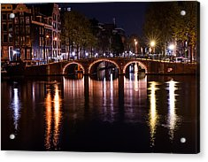 Night Lights On The Amsterdam Canals 4. Holland Acrylic Print by Jenny Rainbow