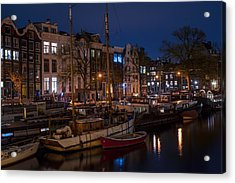 Night Lights On The Amsterdam Canals 7. Holland Acrylic Print by Jenny Rainbow