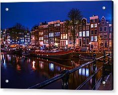 Night Lights On The Amsterdam Canals. Holland Acrylic Print by Jenny Rainbow