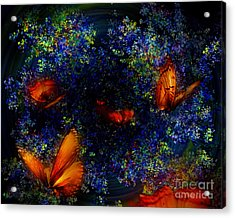 Acrylic Print featuring the digital art Night Of The Butterflies by Olga Hamilton