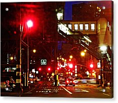 Night On West 125 Street Acrylic Print by Sarah Loft