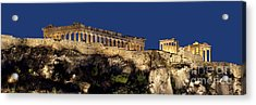 Night Panoramic View Of Acropolis Acrylic Print by Baltzgar