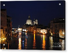 Night Reflections On Grand Canal Acrylic Print by Jacqueline M Lewis