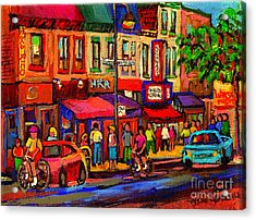 Night Riders On The Boulevard Rue St Laurent And Napoleon Deli Schwartz Montreal Midnight City Scene Acrylic Print by Carole Spandau