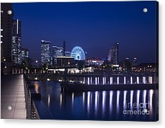 Night Scene In Blue Of Minatomirai In Yokohama Acrylic Print