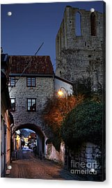 Night Scene In Medieval Town Acrylic Print by Ladi  Kirn