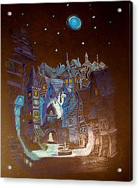 Night Scene Tangled Town Acrylic Print by Joseph Hawkins