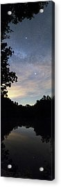 Night Sky Over A Lake Acrylic Print by Laurent Laveder