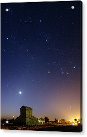 Night Sky Over Tomb Of Cyrus The Great Acrylic Print