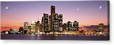 Night Skyline Detroit Mi Acrylic Print