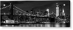Night-skyline New York City Bw Acrylic Print by Melanie Viola