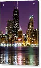 Night Skyline Of Chicago Acrylic Print