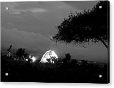 Night Time Camp Site Acrylic Print by Kantilal Patel