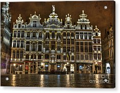 Night Time In Grand Place Acrylic Print by Juli Scalzi