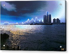 Night Time On The Detroit River Acrylic Print