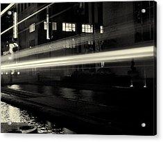 Night Train Black And White Acrylic Print by Joshua House
