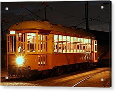 Acrylic Print featuring the photograph Night Trolley by Jim Poulos