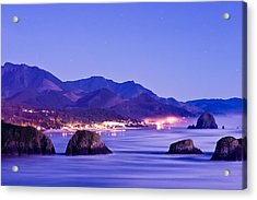 Night View Of Cannon Beach Acrylic Print