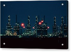 Night View Of Ici Chemical Works Acrylic Print by Martin Bond/science Photo Library