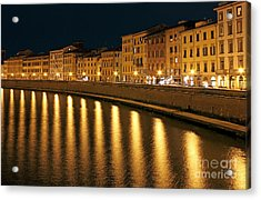 Night View Of River Arno Bank In Pisa Acrylic Print by Kiril Stanchev