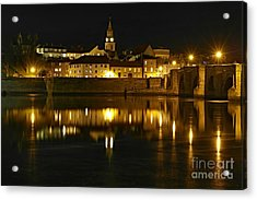 Night View Of The River Tweed At Berwick Acrylic Print