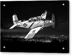 Night Vision Beechcraft T-34 Mentor Military Training Airplane Acrylic Print by Jack Pumphrey
