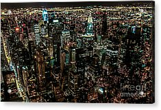 Night View From Empire State Building Acrylic Print by Kim Lessel