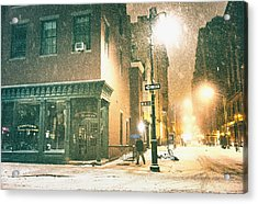 Night - Winter - New York City Acrylic Print by Vivienne Gucwa