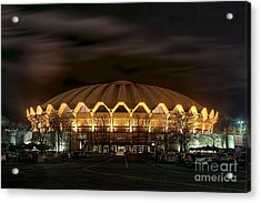 Acrylic Print featuring the photograph night WVU basketball Coliseum arena in by Dan Friend