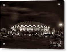 Acrylic Print featuring the photograph night WVU Coliseum basketball arena by Dan Friend