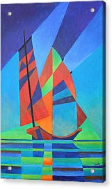 Acrylic Print featuring the painting Nightboat by Tracey Harrington-Simpson