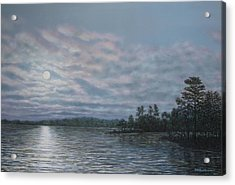 Nightfall - Moonrise On The Waterfront Acrylic Print