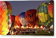 Nightglow At The Albuquerque Hot Air Acrylic Print by William Sutton