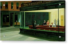 Acrylic Print featuring the  Nighthawks by Edward Hopper