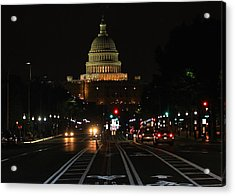 Nightime On Capitol Hill Acrylic Print by DustyFootPhotography