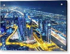 Nightlife In Dubai Acrylic Print by Valentinrussanov