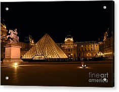 Nighttime At Musee Du Louvre Acrylic Print